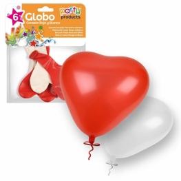 Globo Corazon Rojo-Blanco 6Udes