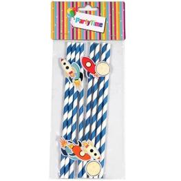 Pajitas forradas papel azul-blanco con aviones