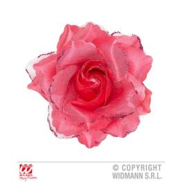 Flor rosa c/pinza rosa