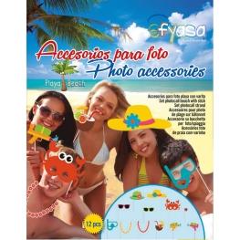 Accesorios para foto playa con varita 12 udes