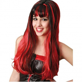 Peluca bruja larga con flequillo roja y negra