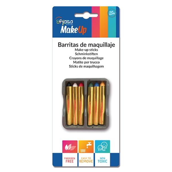 Blister 6 barras maquillaje 6 x 1,6 gr. 5 cm.