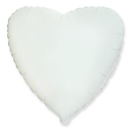 Globo corazón helio 46cm  blanco