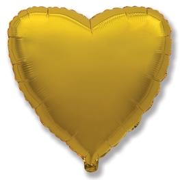Globo corazón helio 46cm  oro