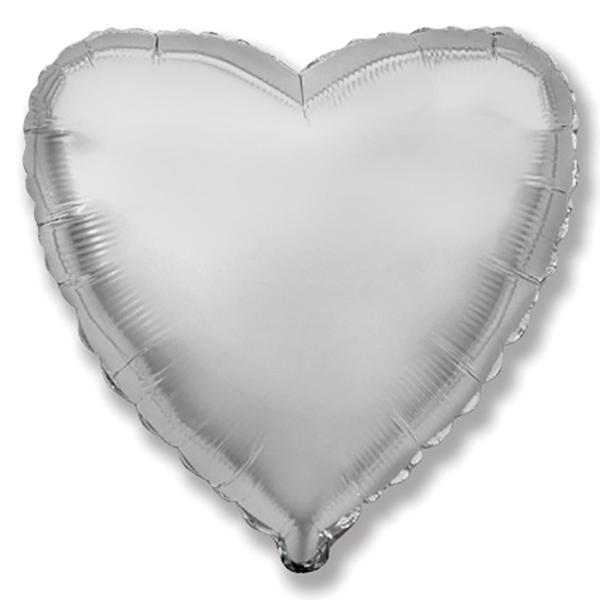 Globo corazón helio 46cm  plata