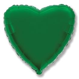 Globo corazón helio 46cm  verde
