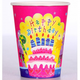 Vaso Happy Birthday 9,5cm 6Uds