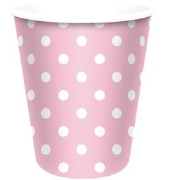 Vaso rosa topos blancos 6 unidades
