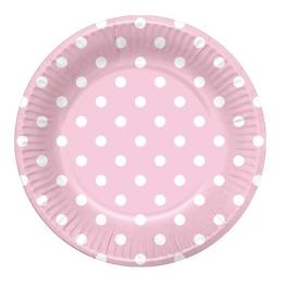 Plato rosa topos blancos 6 unidades