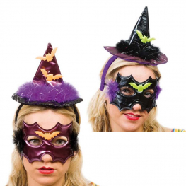Diadema sombrero y antifaz murciélago con marabú (2 colores)