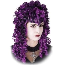 Peluca dama gótica rizos larga negra y lila