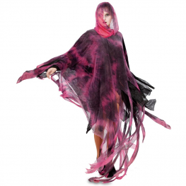 Disfraz de Poncho zombi rojo 160cm.  para Adulto