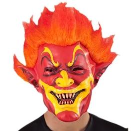 Máscara payaso fuego con peluca