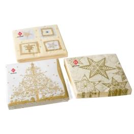 Servilleta Navidad oro 3 capas surtidos
