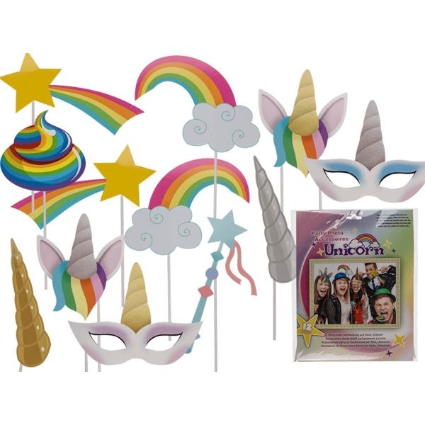 Accesorio fiesta unicornio set 12 unidades