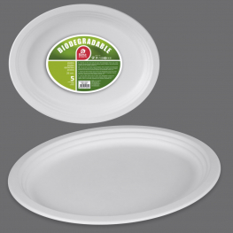 Plato biodegradable oval 26x19,9 5 udes