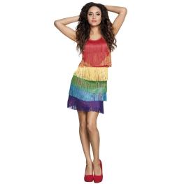 Vestido flecos multicolor T-M