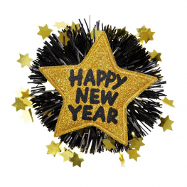Broche happy new year dorado