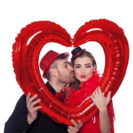 Globo marco selfie corazón rojo 80x70cm