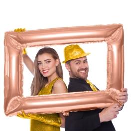Globo marco selfie oro rosado 85x60cm