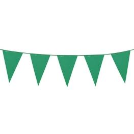Tira bandera verde 10 mts 20 banderin de 30x20 cm