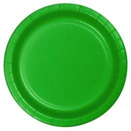 Plato verde cartón 23cm 8 unidades