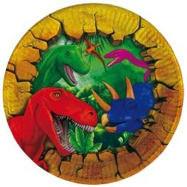 Plato dinosaurios 18cm 8 unidades