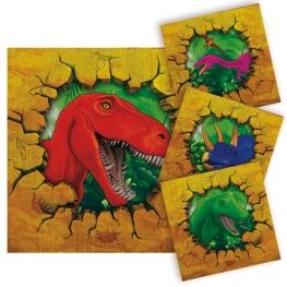 Servilleta dinosaurios 25x25cm 16 unidades