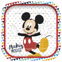 Plato cuadrado Mickey awesome 4 udes