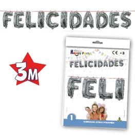 Letrero Globo Felicidades Plata