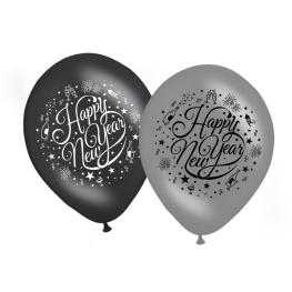 Globo happy new year negro/plata 30cm 8udes
