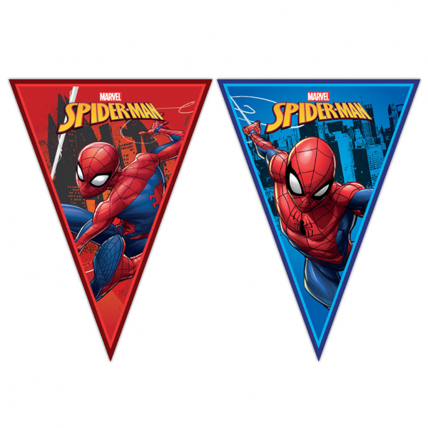 Tira bandera spiderman 9 banderines