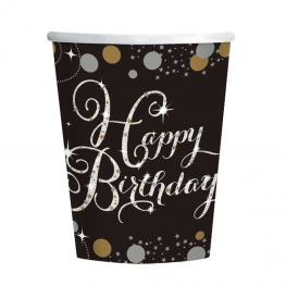 Vaso Happy Birthday 266 Ml. 8 Udes.