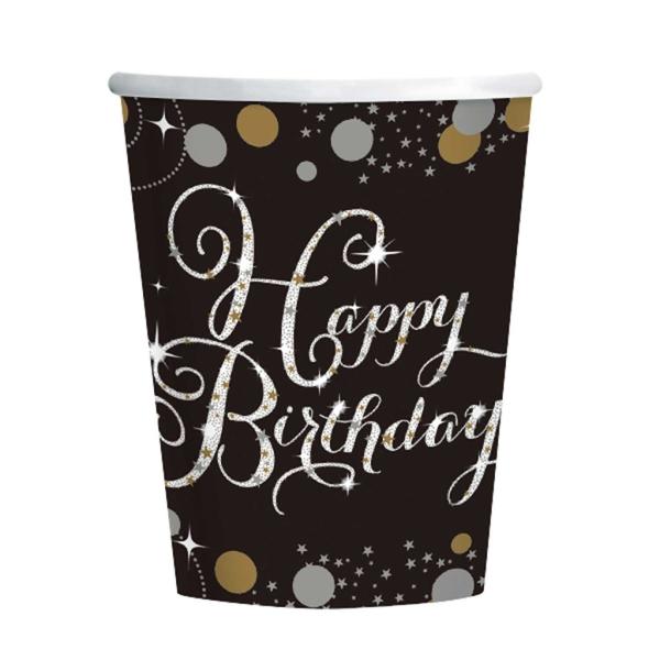 Vaso Happy Birthday 266 Ml. 8 Udes.
