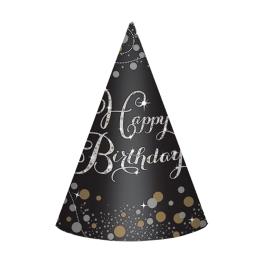 Gorro Cono  Negro Happy Birthday 8 Udes.