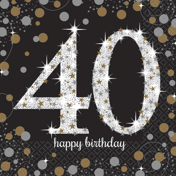 Servilleta 2 Capas Happy Birthday Brillante 40 Años 16 Udes.