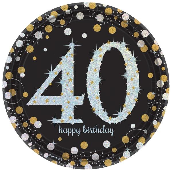 Plato Happy Birhtday Brillante 40 Años 23 Cm Ø 8 Udes.