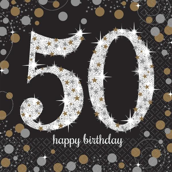 Servilleta Happy Birthday Brillante 50 Años 33 Cm. 16 Udes.