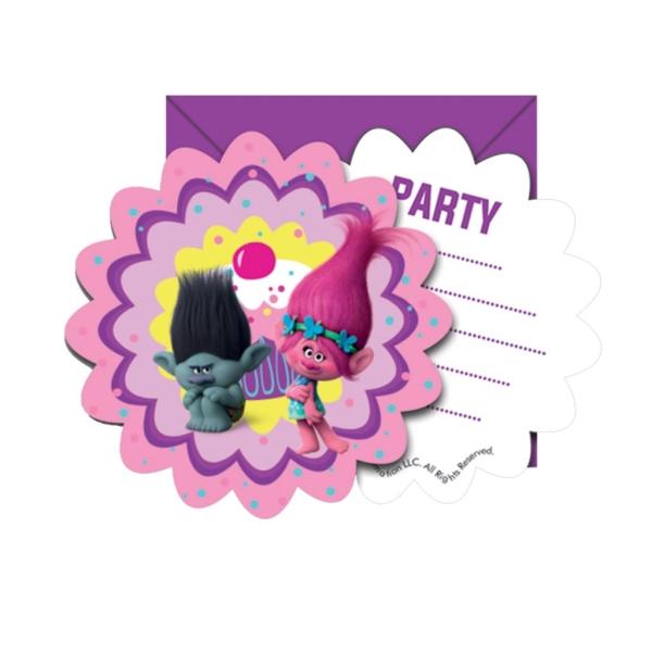 Pack 6 Invitaciones-Sobres Trolls
