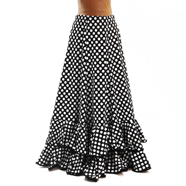 Falda sevillana con lunares negro/blanco Talla M