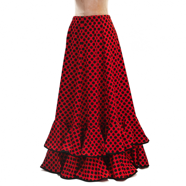 Falda sevillana roja con lunares negros Talla M