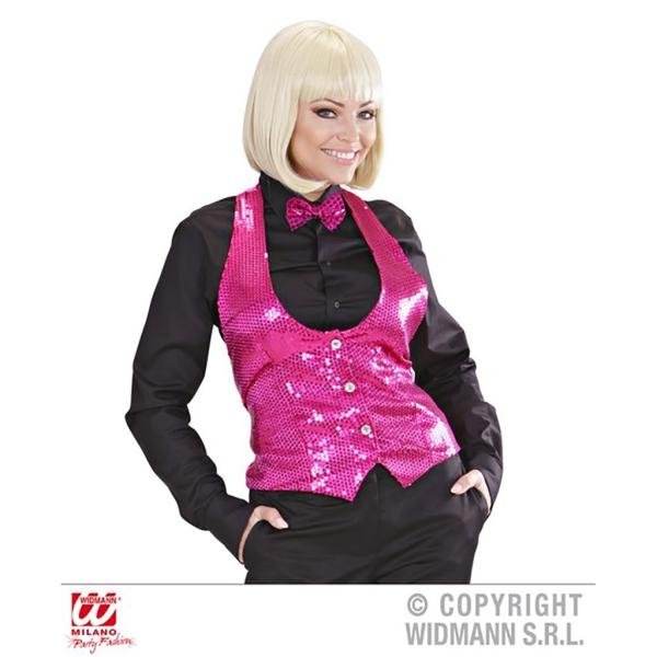 Chaleco señora lentejuelas rosa Talla ML para mujer