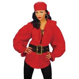 Camisa pirata señora rojo Talla M para mujer