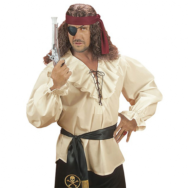 Camisa pirata caballero beig Talla XL para hombre