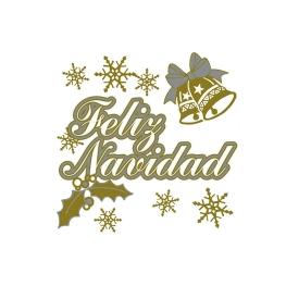 Adhesivo Feliz Navidad plata-oro