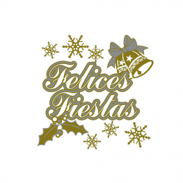 Adhesivo Felices Fiestas plata-oro