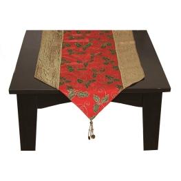 Camino de mesa con ponsetias de tela