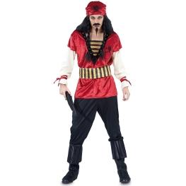 Disfraz de Pirata rojo Talla ML para hombre