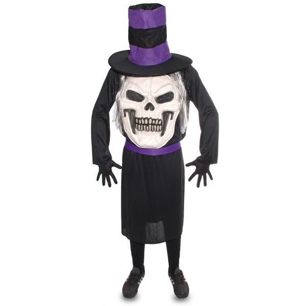 Disfraz de Calavera con sombrero Talla ML para hombre