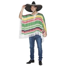 Disfraz de Poncho mejicano adulto